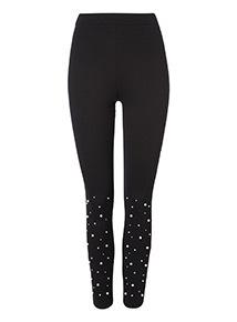 Black Pearl Embellished Leggings