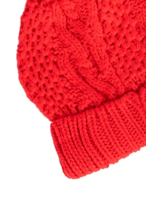 Red Cable Knit Pom-Pom Beanie Hat