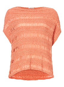 Pale Pink Woven Tabard Jumper