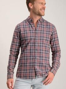 Dark Red Slim Fit Check Shirt