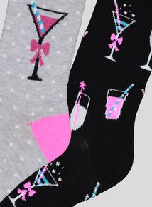 Multicoloured Cocktail Print Socks 2 Pack