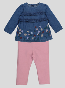 Embroidered Woven Top And Leggings Set (0-24 months)