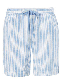 Blue Stripe Linen Shorts