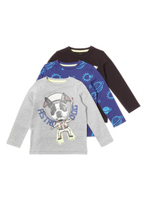 Multicoloured Watch This Space Tee 3 Pack (9 months-6 years)