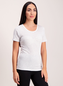 Cream Stripe 'Heat Active' Thermal Pointelle Top