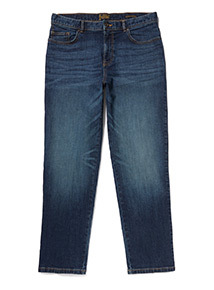 Mid Wash Denim Straight Jeans With Stretch