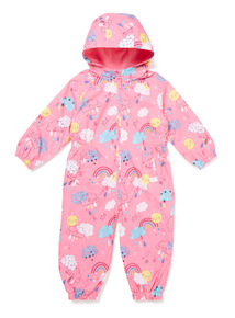 Pink Fleece Lined Printed Puddlesuit (9 months-6 years)