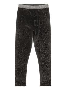Black Glitter Velour Leggings (3-14 years)