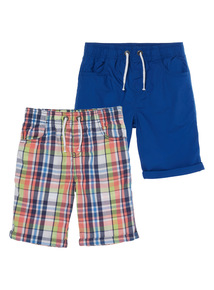 Multicoloured Checked Shorts 2 Pack (3 - 12 years)