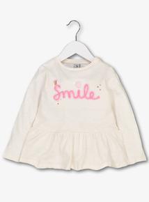 Cream 'Smile' Long Sleeve Top (1- 13 years)