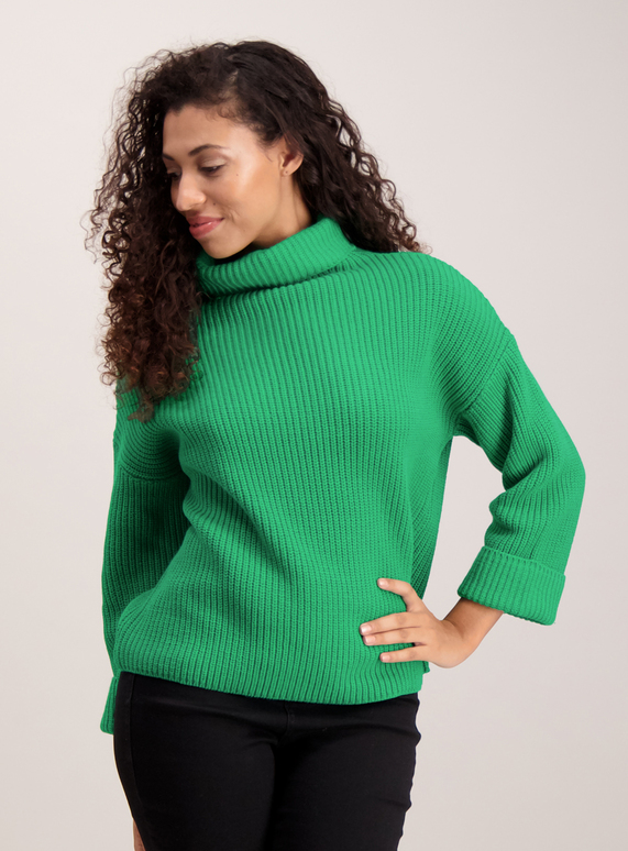 713eb90d5 Womens Green Roll Neck Turned Cuff Jumper