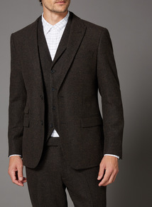 Brown Wool Mix Suit Jacket