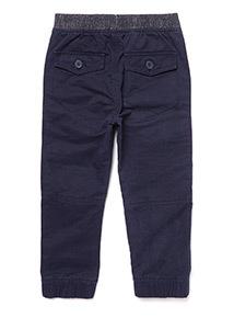 Navy Rib Waist Cargo Trousers (9 Months- 6 Years)