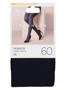Navy Blue Chevron Patterned Opaque Tights 60 Denier