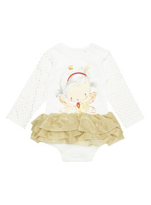 Cream Christmas Angel Tutu Bodysuit (0-24 months)