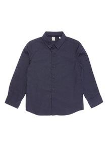 Navy Long Sleeve Smart Spot Shirt (3-14 years)