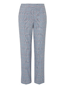 Grey Checked Tapered Trousers