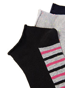 3 Pack Patterned Trainer Socks