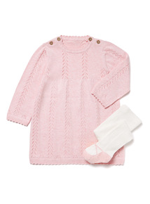 Pink Knitted Dress and Tights Set (0-24 months)