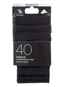 3 Pack Black Opaque Ankle Highs