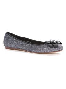 Silver Glitter Ballerina Shoes
