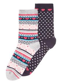 2 Pack  Fairisle Socks