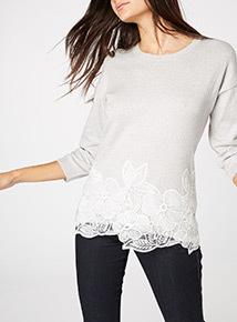 Embroidered Lace Hem Jumper