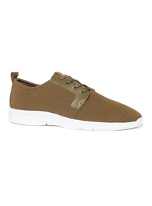 Khaki Perforated Jogger Trainers