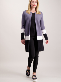 Grey Colour Block Coatigan