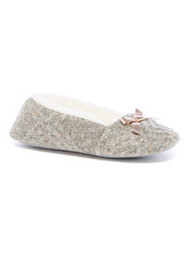 Metallic Knitted Ballerina Slippers