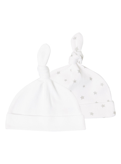White Hats 2 Pack (0-6 months)