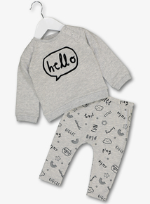 Grey 'Hello' Sweatshirt & Joggers (0-24 Months)