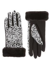 Grey Faux Fur Trim Dalmation Glove