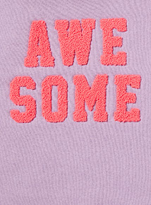 Lilac 'Awesome' Textured Slogan Sweatshirt (3-14 years)