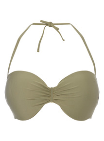 Green Underwired Shiny Bandeau Bikini Top