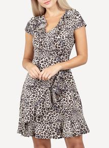 IZABEL Multi Beige Printed Wrap Tea Dress