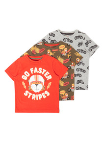 3 Pack Multicoloured Go Faster T-shirts (9 months-6 years)