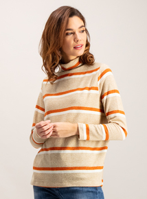 Multicoloured Stripe Soft Touch Cowl Neck Top