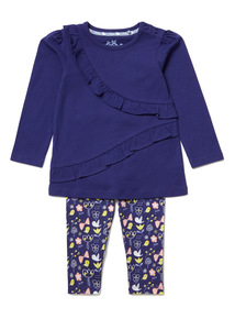 Navy Ruffle Top and Leggings Set (0-24 months)
