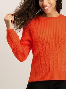 Orange Cable Knit Jumper