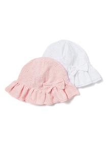 2 Pack Multicolour Sun Hats (0-24 months)