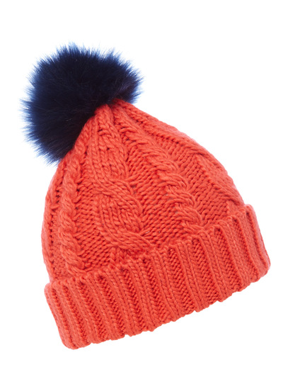 Red Primary Colour Bobble Hat