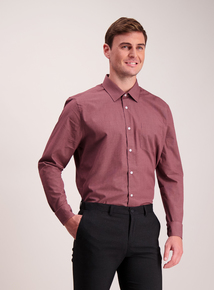 Burgundy Stripe & Check Tailored Fit Shirts 2 Pack