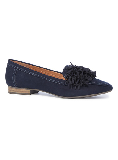 Navy Square Toe Loafers