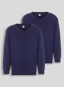 Navy V-Neck Jumpers 2 Pack (3-12 years) d11058ae4