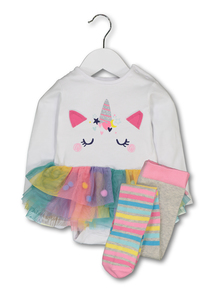 Multicoloured Unicorn Tutu Bodysuit & Tights (0-24 months)