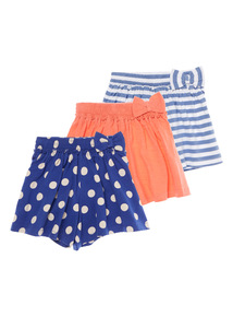 Girls Navy Jersey Spot Shorts 3 Pack (9 months - 6 years)