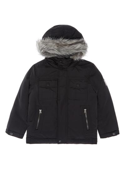 7de7ac2e8afb9 Kids Boys Black Fur Lined Bomber Jacket (3-12 years)