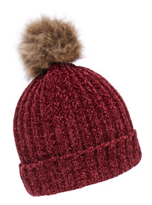 Berry Red Chenile Pompom Hat