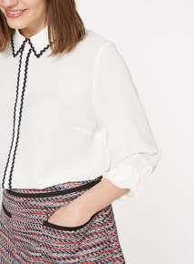 Cream Zig-Zag Tipped Blouse